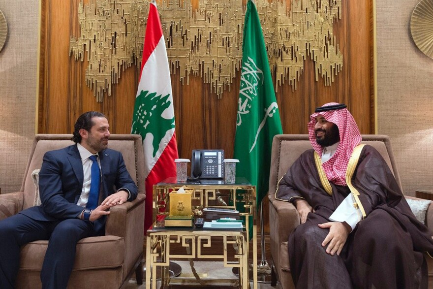 In this Monday, Oct. 30, 2017 file photo, released by Lebanon's official government photographer Saudi Crown Prince Mohammed bin Salman, right, meets with Lebanese Prime Minister Saad Hariri in Riyadh, Saudi Arabia. (Dalati Nohra via AP, File)