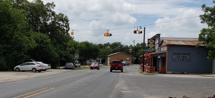 The main drag that runs through McQueeney, Texas.