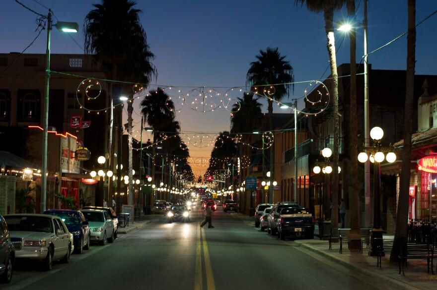 A view of Ybor City at night