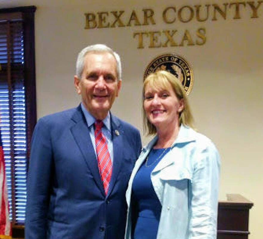 Congressman Lloyd Doggett and Angela White, CEO of Alpha Home, a residential drug and alcohol rehab center for women in San Antonio. Alpha Home is among the organizations that will benefit from the Justice Department grants. Oct. 2, 2018