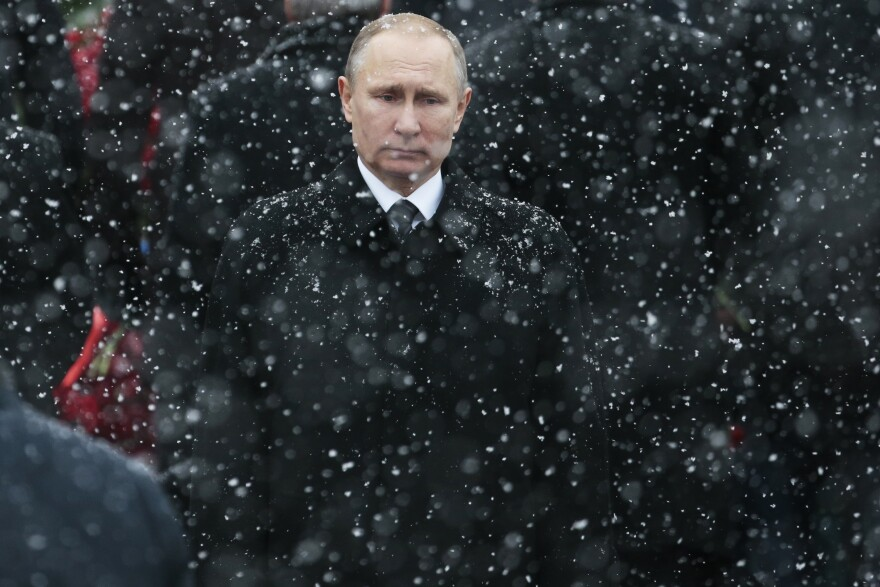 "Russian President Vladimir Putin, photographed at the Tomb of the Unknown Soldier in Moscow in 2017, has seen U.S. relations reach their lowest point since the Cold War. By waiting over a month to congratulate President-elect Joe Biden, Putin tried to show strength and that ""he's ready to take the fight all the way to Washington,"" Russian political commentator Konstantin Eggert says."