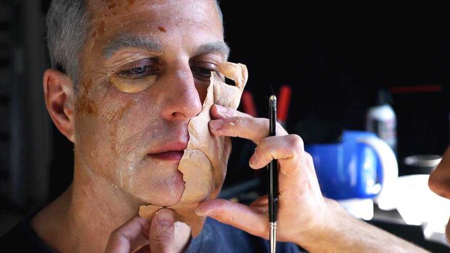 Toledano on set, being made up for one of his fates.