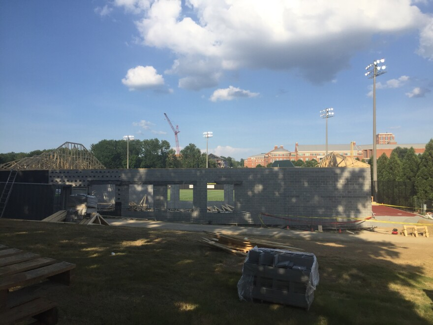 A roof collapsed on a construction site at UNC Charlotte Friday, injuring one worker.