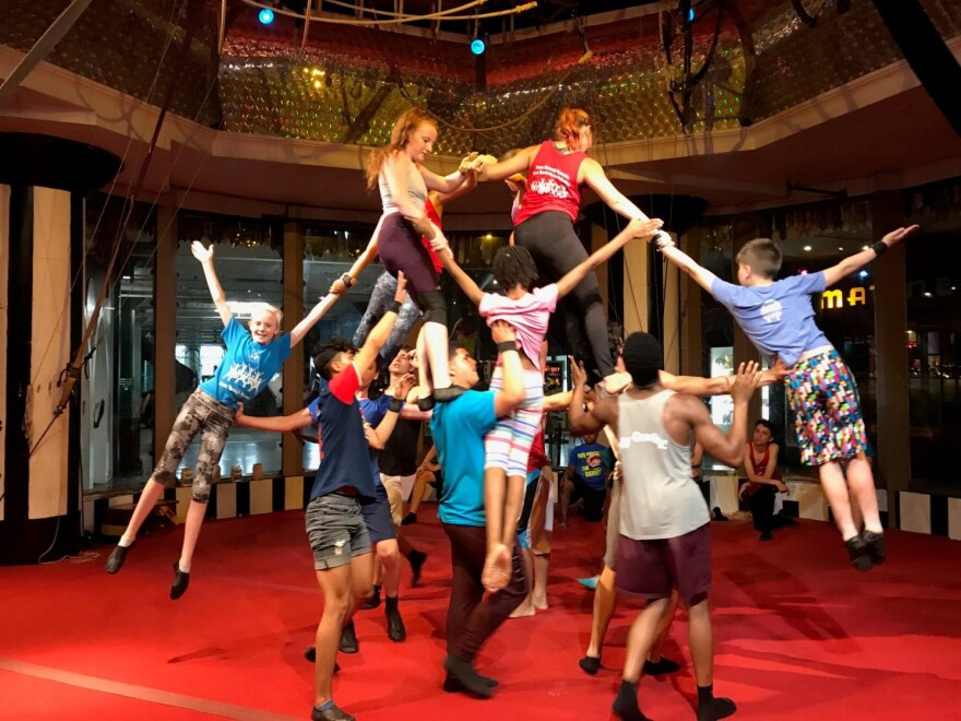 The St. Louis and Puerto Rican circus kids spent part of their first day in St. Louis together rehearsing at the City Museum. This trick is called the Carousel.