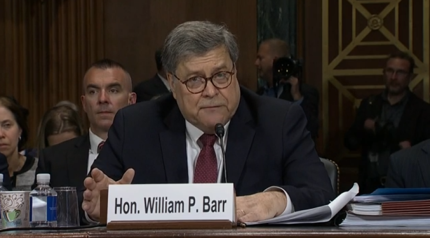 Screenshot of Attorney General William Barr testifying before the Senate Judiciary Committee on May 1, 2019.