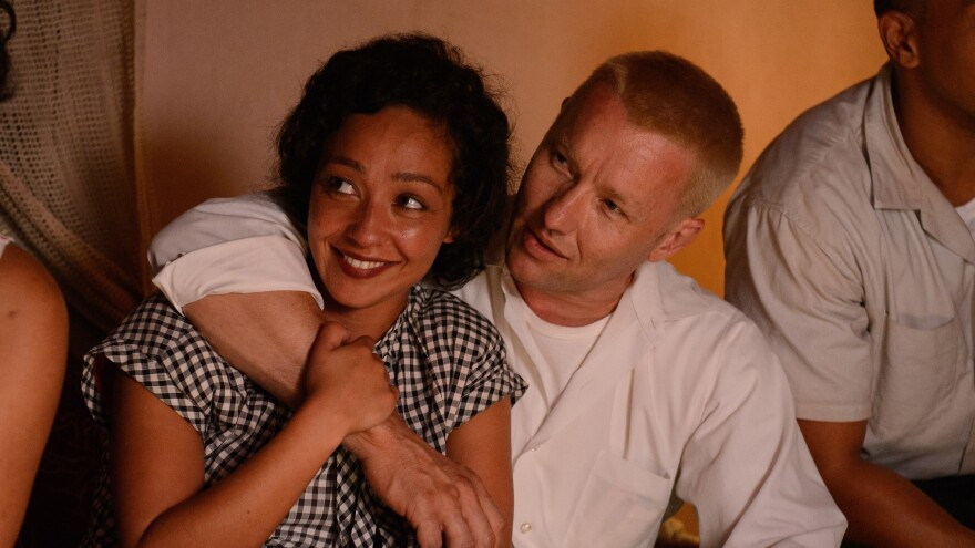 Ruth Negga and Joel Edgerton as Mildred and Richard Loving in <em>Loving</em>.