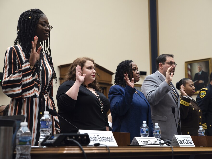 Aalayah Eastmond, Savannah Lindquist, Diane Latiker, and Dr. Joseph Sakran are sworn in before testifying to the House Judiciary Committee.
