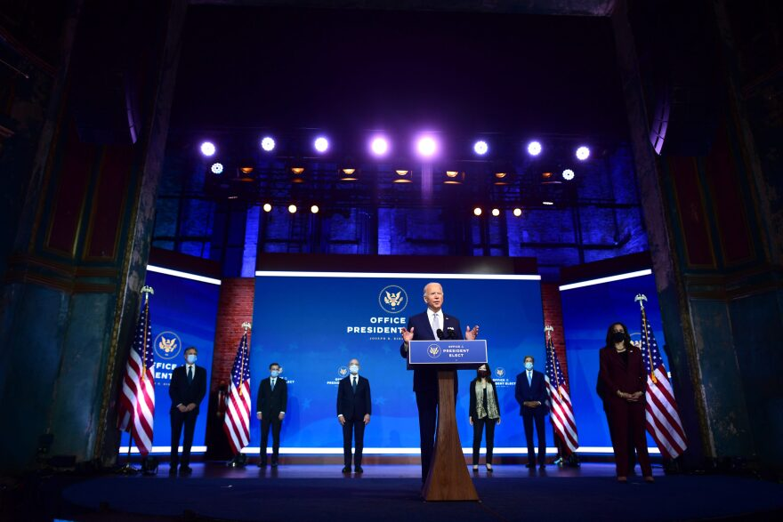 President-elect Joe Biden (C) introduces key foreign policy and national security nominees and appointments at the Queen Theatre on November 24, 2020 in Wilmington, Delaware. (Mark Makela/Getty Images)