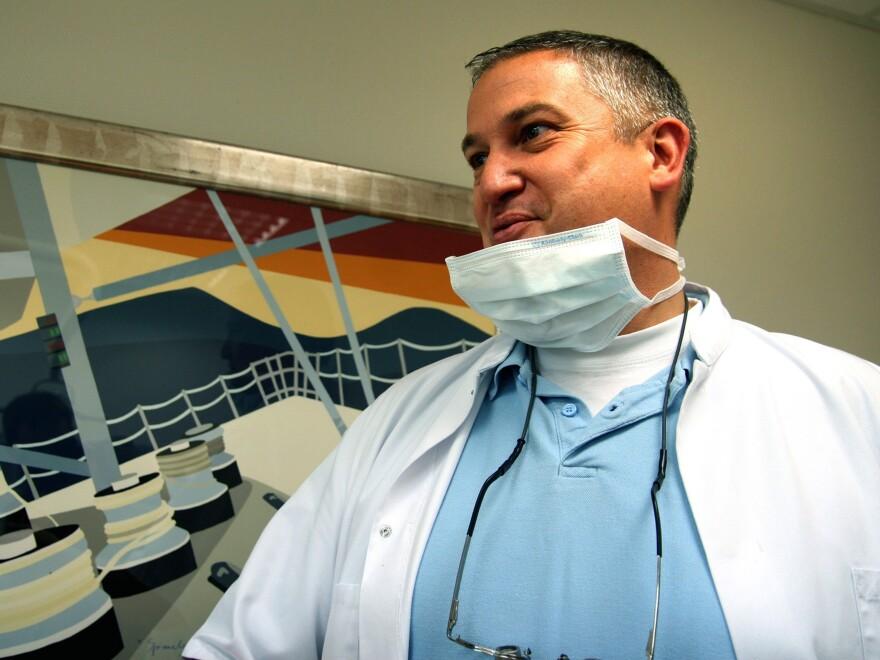 Dutch dentist Jacobus Van Nierop in his dental office in Chateau-Chinon, France, in 2009.