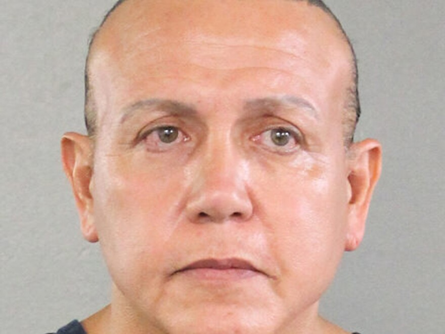 An undated police mugshot of Cesar Sayoc, who was charged Friday with sending explosive devices to critics of President Trump.