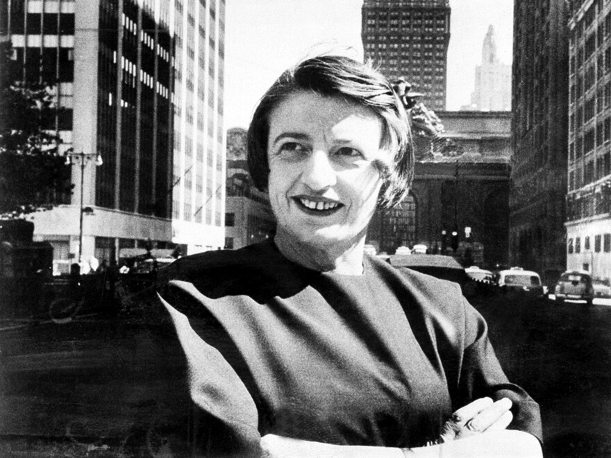 Ayn Rand, the Russian-born American novelist, is shown in Manhattan, N.Y., with the Grand Central Terminal building in background in 1962. Her novel <em>Ideal </em>will be published next year more than 80 years after she wrote it.