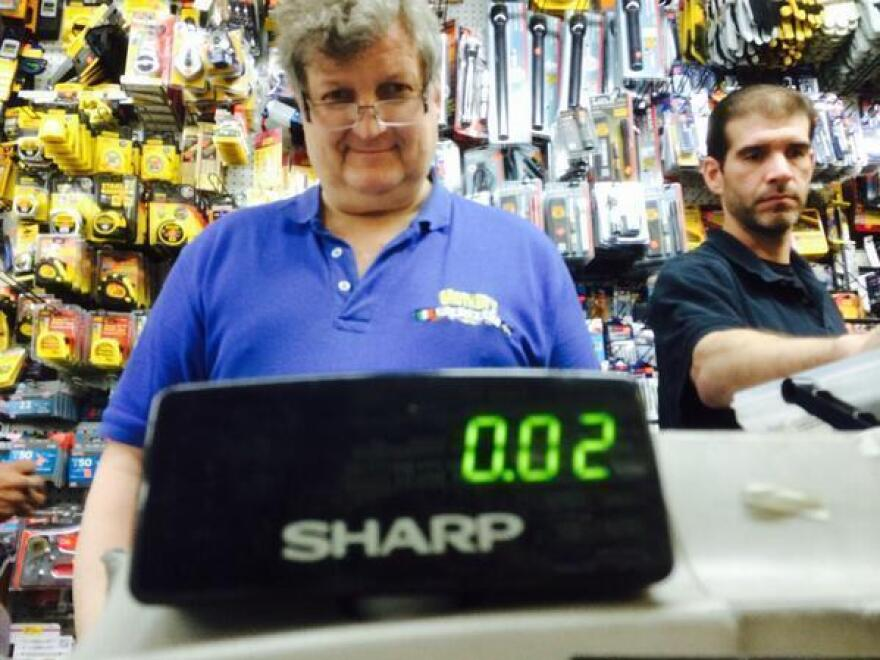 Planet Money's Jacob Goldstein and Robert Smith bought a washer for two cents in a hardware store in Manhattan.