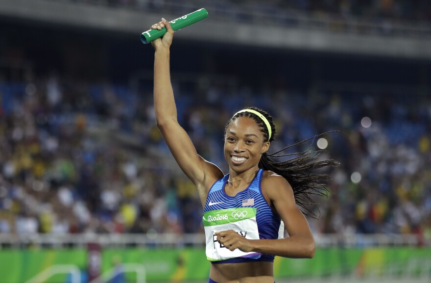 American Allyson Felix crosses the finish line to win the 4x400-meter relay in Rio on Saturday night. Felix won her sixth career gold medal, the most ever by a woman in track. She broke her own record, set one night earlier.