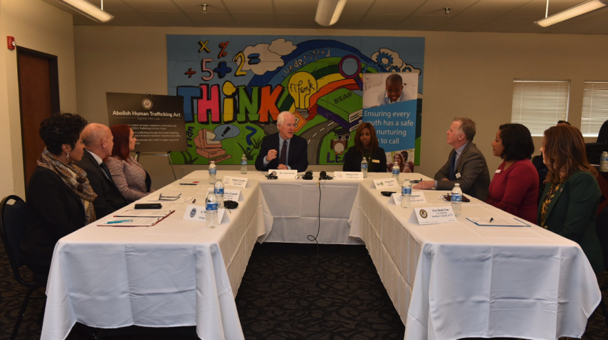 U.S. Sen. John Cornyn at a roundtable discussion in Dallas Tuesday about human trafficking.