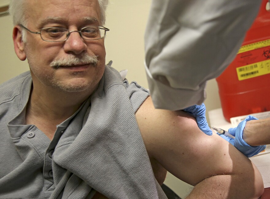 Steve Sierzega receives a measles, mumps and rubella vaccine in Pomona, N.Y., on March 27, 2019. The county in New York City's northern suburbs declared a local state of emergency over a measles outbreak.