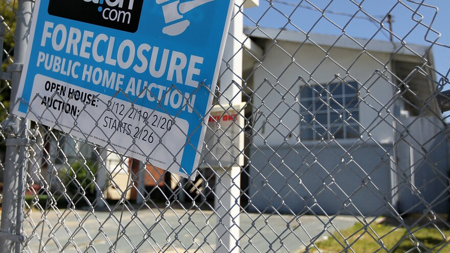 April 2011: A foreclosure sign in front of a home in Richmond, Calif.