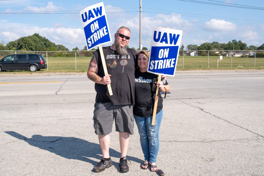 Tony Browning (left) poses for a portrait with his wife, Sherry Browning, as they hold the picket line in front of the South Gate of the GM Metal Fabrication Division, Parma, Ohio Tuesday, Sep. 17, 2019.   Tony is a third generation United Auto Workers un