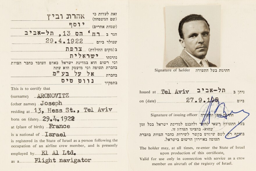 The fake identification card prepared for Dr. Yonah Elian to take part in the Mossad operation to apprehend Adolf Eichmann in Argentina. The Mossad team posed as El Al flight crew members.