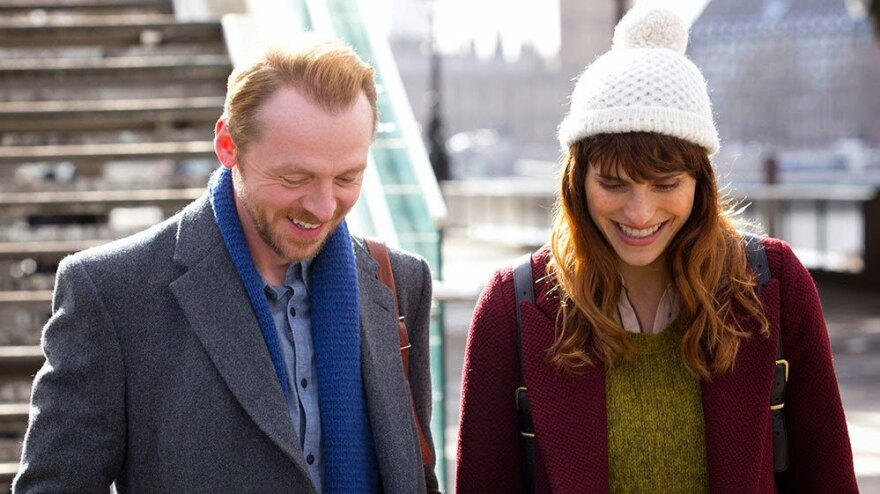 Simon Pegg as Jack and Lake Bell as Nancy in a scene from <em>Man Up</em>.