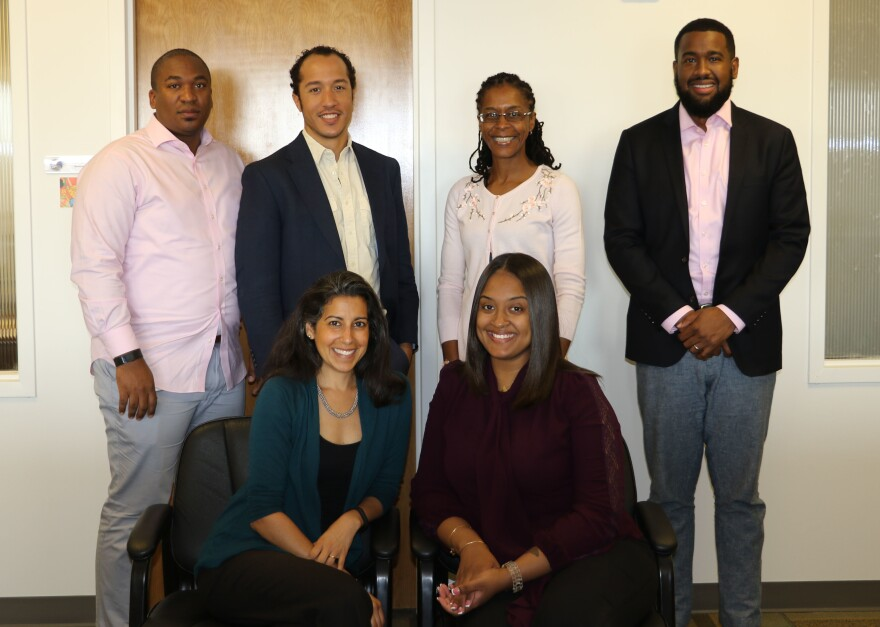 Members of the D.C. attorney general's restorative justice team (from left, back row to front): Alex Lambert, Roman Haferd, Lashonia Thompson-El, Ameen Beale, Seema Gajwani and Ashley Hyman-Ford.