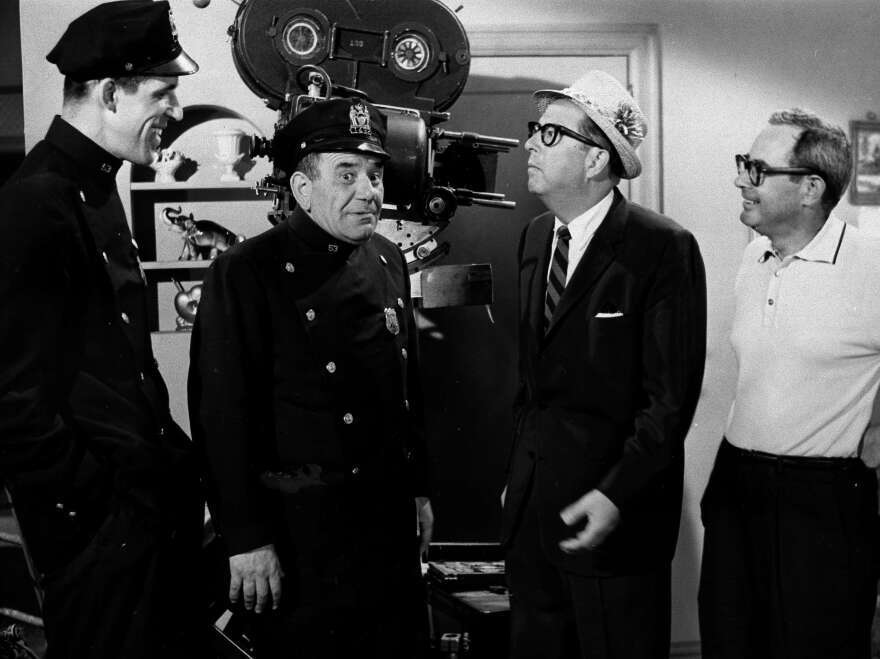 From left, Gwynne and Ross kibbitz with Phil Silvers of <em>Sgt. Bilko</em> and Nat Hiken, who created both classic TV comedies.
