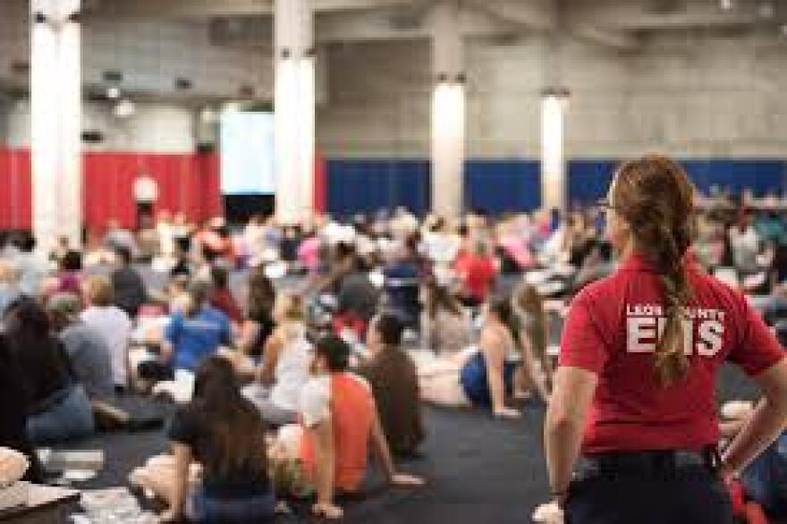 Hundreds of people received basic CPR training at Saturday's Press the Chest event.