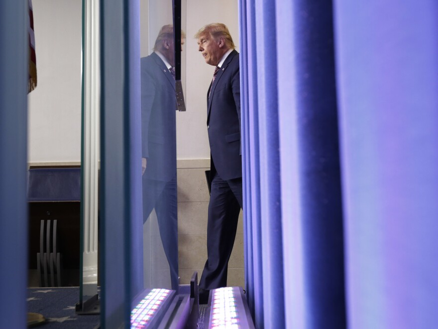 President Trump arrives to speak in the briefing room at the White House Thursday.