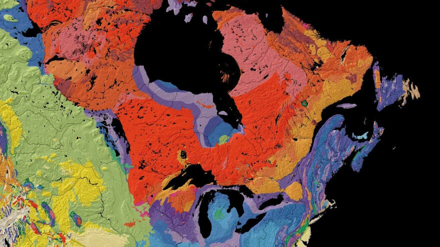 This map, from the United States Geological Survey, shows the age of bedrock in different regions of North America.  Scientists found ancient water in bedrock north of Lake Superior.  This region, colored red, was formed more than 2.5 billion years ago.