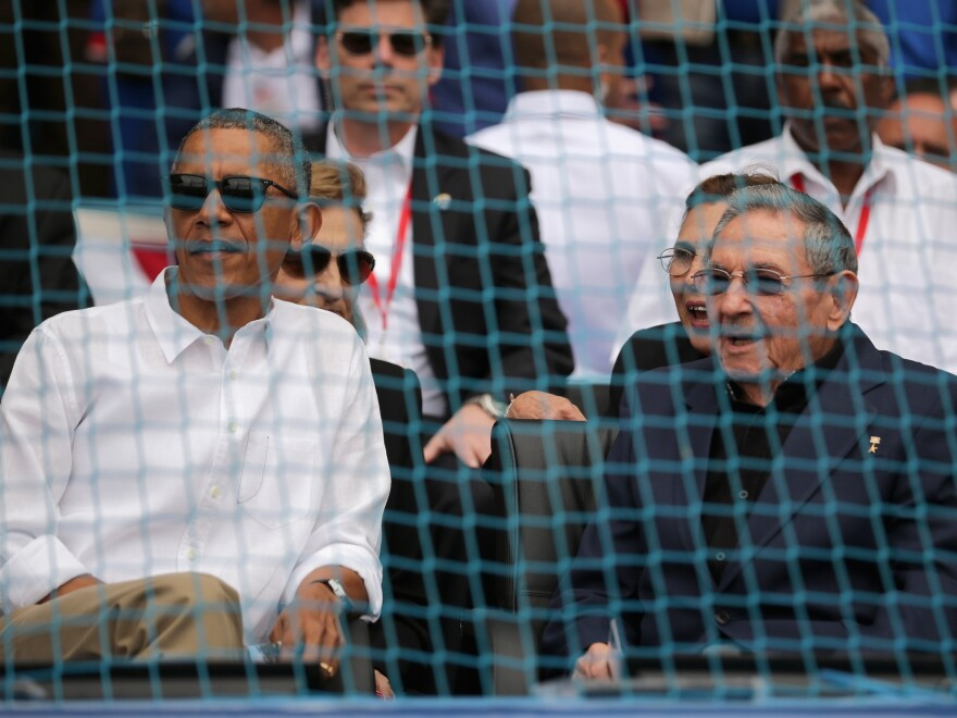 U.S. President Barack Obama and Cuban President Raul Castro attended a game between the Cuban national team and the Tampa Bay Devil Rays at the Estado Latinoamericano March 22, 2016 in Havana, Cuba.