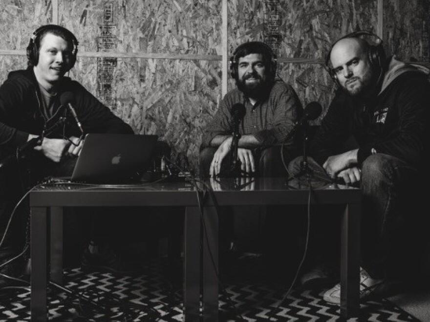 Matt Carter, Toby Morrell, and Joey Svendsen recording the <em>Bad Christian</em> podcast.