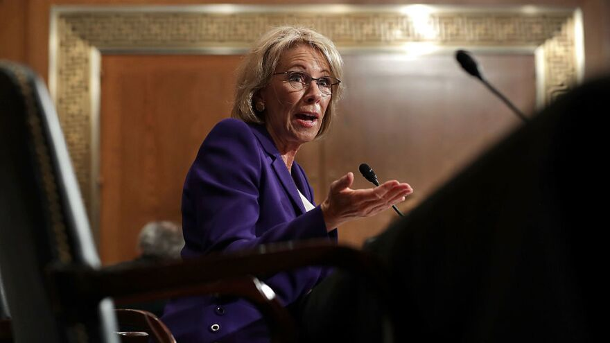 Betsy DeVos, President Trump's pick to be the next secretary of education, testifies during her confirmation hearing before the Senate Health, Education, Labor and Pensions Committee last month.