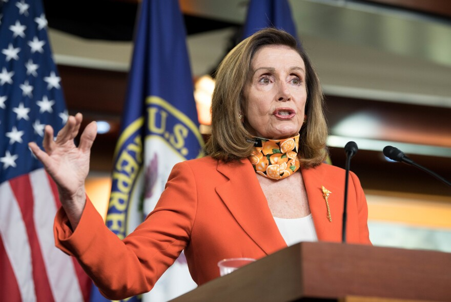 House Speaker Nancy Pelosi, D-Calif., seen here during a press conference Thursday, has criticized President Trump for trying to quickly fill a Supreme Court vacancy before the court hears a case on the Affordable Care Act.
