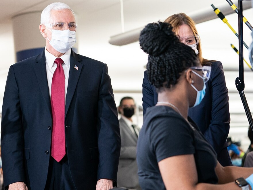 Vice President Mike Pence participates in a walking tour Thursday, April 30, 2020, at GM/Ventec Ventilator Production Facility in Kokomo, Ind.