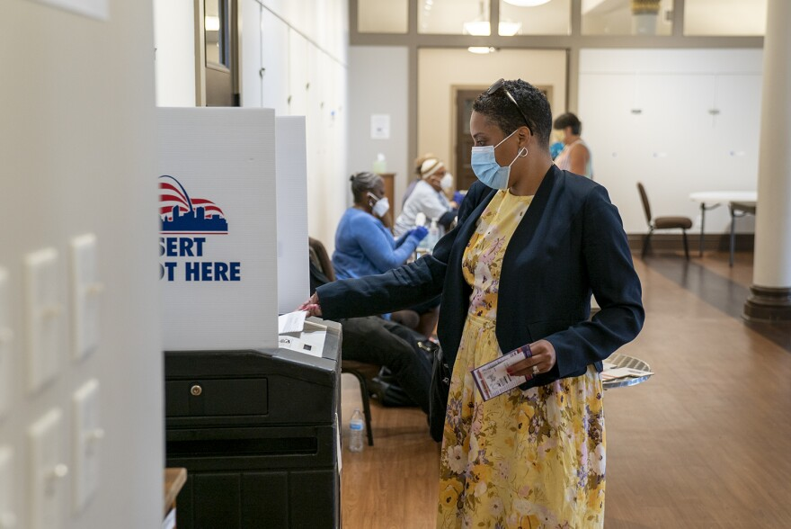 St. Louis Circuit Attorney Kim Gardner submits her primary ballot on Tuesday. She defeated challenger Mary Pat Carl to be the Democratic nominee in November's general election.