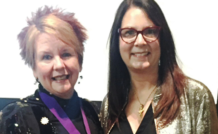 Ohio Arts Council Executive Director Donna Collins (left) with OAC Board Member Susan Allan Block, at an OAC awards ceremony in 2017.