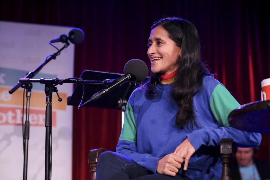 Aparna Nancherla appears on <em>Ask Me Another</em> at the Bell House in Brooklyn, New York.
