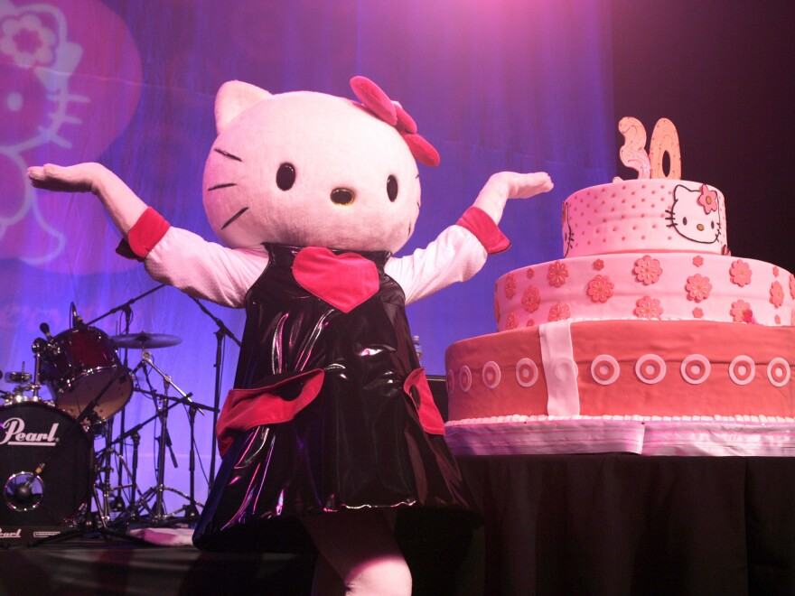 """A Hello Kitty 30th anniversary party was held in Hollywood in 2004. The popular Sanrio character has """"the flexibility to kind of be everywhere, be anyone, be anything,"""" says University of Hawaii anthropologist Christine Yano."""