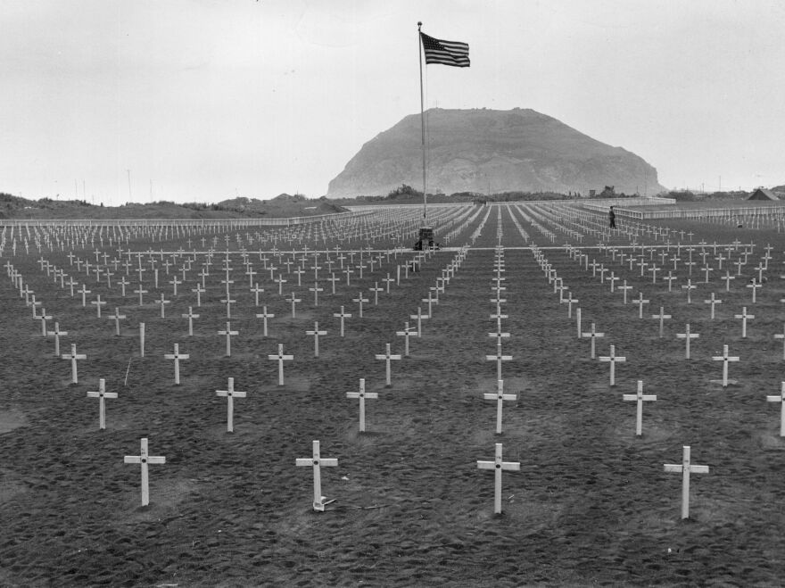 A U.S. Marine cemetery at the foot of Mount Suribachi in Iwo Jima.