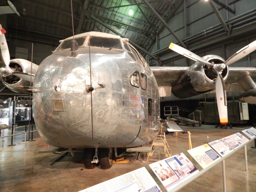 """""""Patches"""" is one of the C-123 cargo planes used to spray Agent Orange. It's now on display at the National Museum of the U.S. Air Force."""