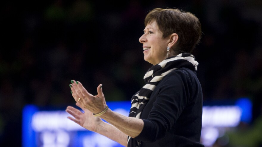 Notre Dame head coach Muffet McGraw questions an official during a game in South Bend, Ind., on March 23, 2019. McGraw retired this week after 33 years coaching women's basketball at Notre Dame.