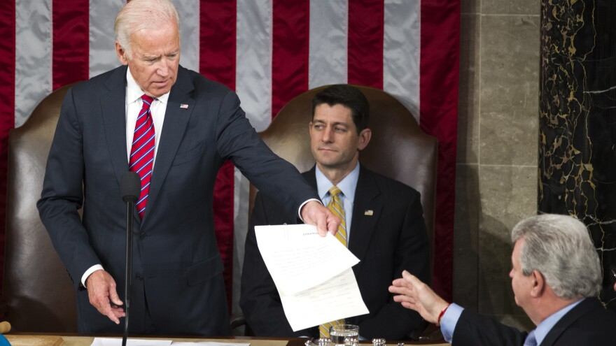 Then-Vice President Joe Biden presides over a joint session of Congress in January 2017 to name Donald Trump formally as president-elect.