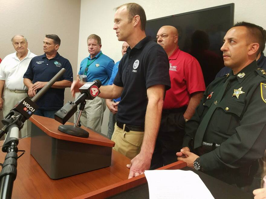 FEMA Administrator Brock Long giving a press conference at Lee County's Emergency Operations Center.