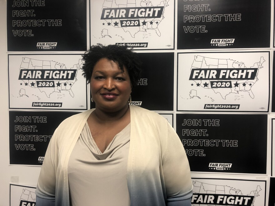 Stacey Abrams at Fair Fight's headquarters outside Atlanta. She's waging a voting rights campaign aimed at helping Democrats win in 18 battleground states.