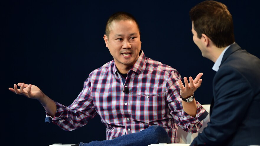 Former Zappos CEO Tony Hsieh, pictured here at a 2015 event in Laguna Beach, Calif, died Friday at the age of 46.