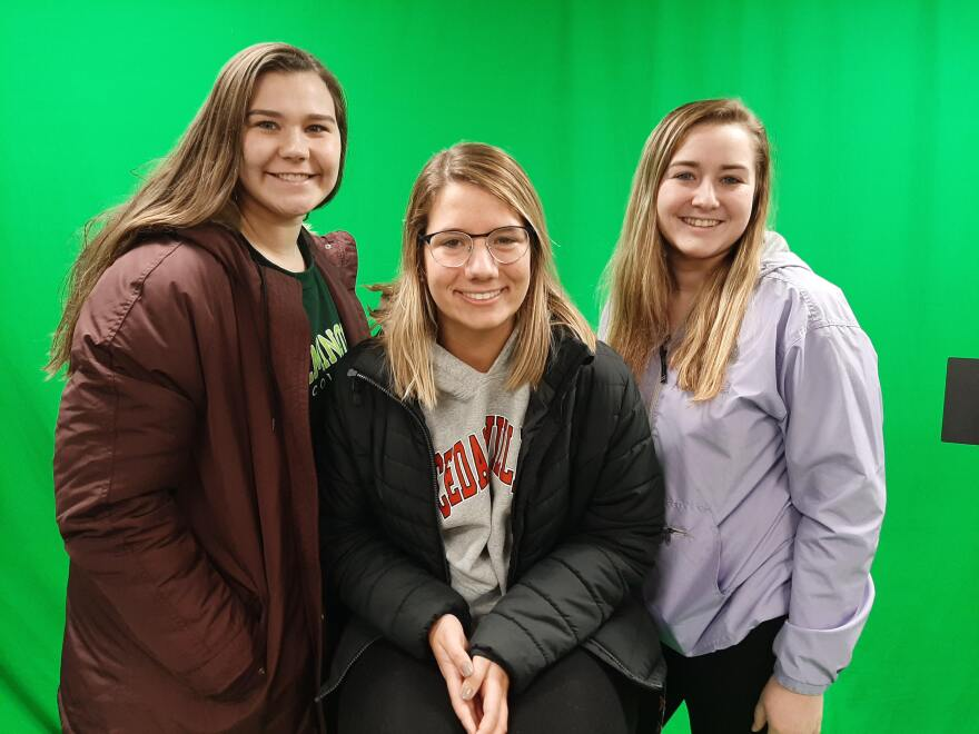 """Morgan McFarland, Grace Smith and Carly Fitz are freshman """"aggies"""" at Wilmington College."""