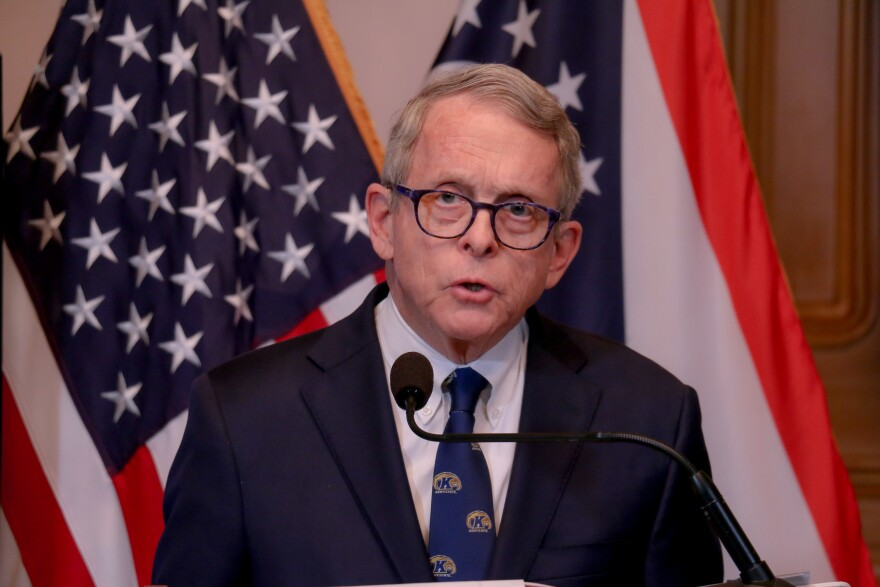 Gov. Mike DeWine at his daily coronavirus press conference on April 7, 2020.