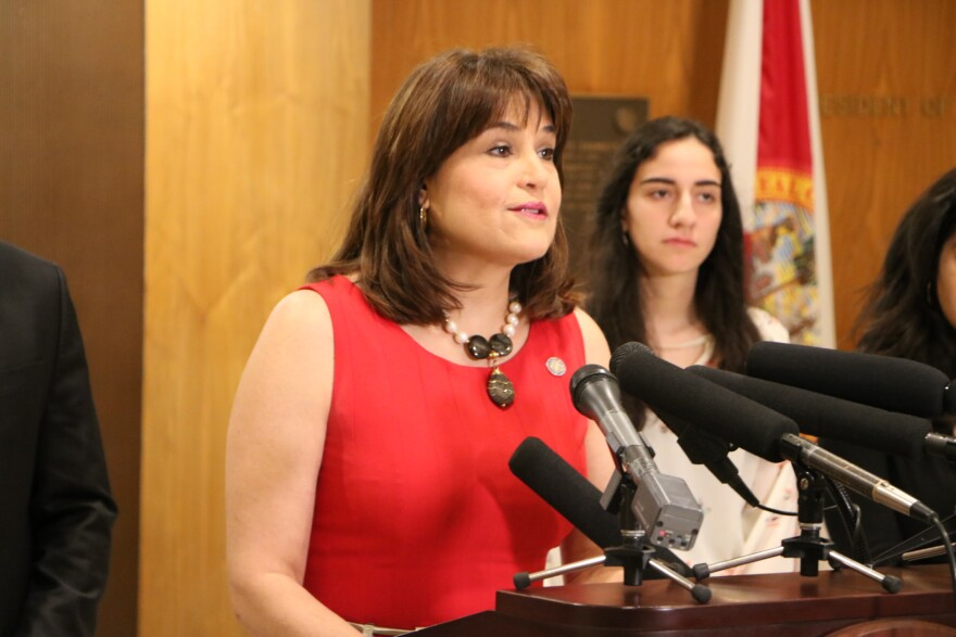 Sen. Annette Taddeo (D-Miami) speaks against the sanctuary cities ban at a rally held at the state Capitol.