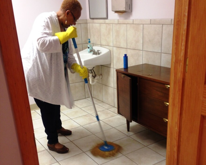 Griot founder Lois Conley cleans the toilets, sinks and bathroom floors several times a week. She's 69 years old and the job's not getting any easier.