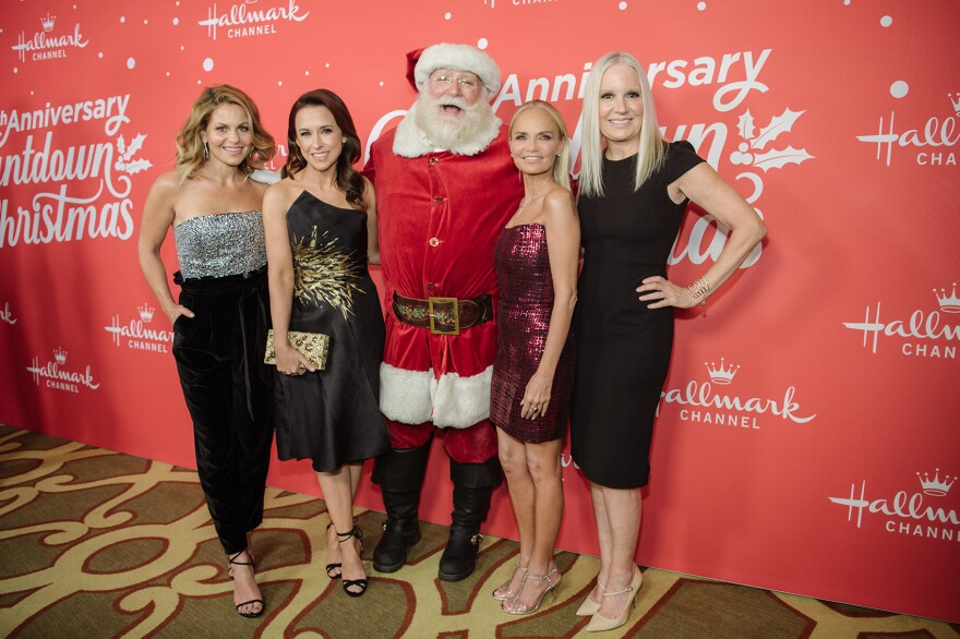"""(Left to right) Candace Cameron-Bure, Lacey Chabert, Kristin Chenoweth and Michelle Vicary arrive  at the Los Angeles special screening of Hallmark Channel's """"A Christmas Love Story"""" at Montage Beverly Hills on Oct. 21, 2019 in Beverly Hills, Calif. (Morgan Lieberman/Getty Images)"""