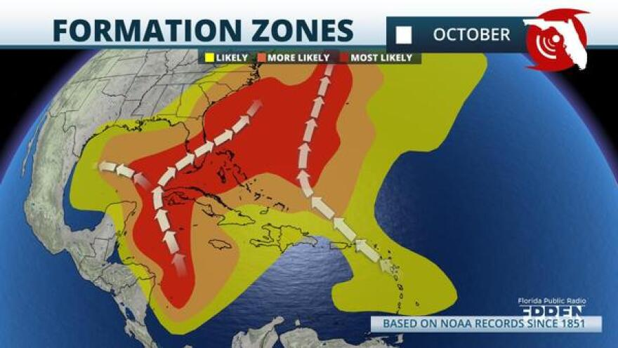 General Tropical Cyclone Formation Zones for the Month of October